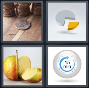 4 Pics 1 Word Answer 7 letters for coins in stacks, piece of pie chart, apple with slice taken out, timer with 15 minutes