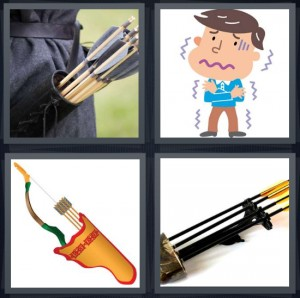 4 Pics 1 Word Answer 6 letters for hunter on belt loop, cartoon of man shivering, arrows in holster, bow and arrow for hunting