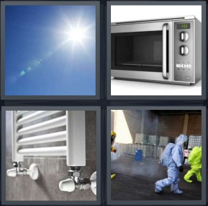 4 Pics 1 Word Answer 7 letters for blue sky with bright sunlight, microwave oven silver, heater on wall, nuclear factory