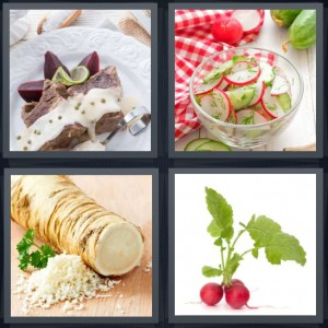 4 Pics 1 Word Answer 6 letters for beets on plate, dill on cut vegetables, turnip or ginger root vegetable, vegetable red with green leaves
