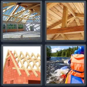 4 Pics 1 Word Answer 7 letters for attic with open air, wooden ceiling with beams, roof going on house, people rafting on river with life jackets