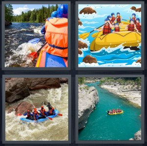 4 Pics 1 Word Answer 7 letters for family on river in life jackets, cartoon of people on yellow raft, large rapids with water raging, whitewater sports