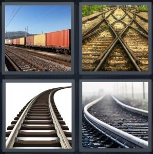 4 Pics 1 Word Answer 7 letters for train with large box cars, train tracks criss crossing, rails for train, bars on train track