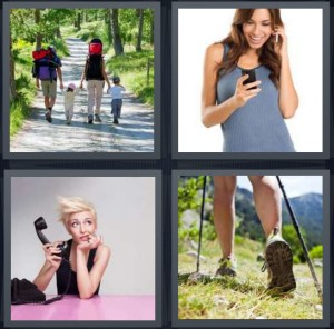 4 Pics 1 Word Answer 6 letters for family walking on cement path sidewalk in woods, woman having conversation on cell phone, woman on telephone not listening, woman hiking in woods