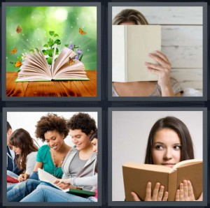 4 Pics 1 Word Answer 7 letters for butterflies coming out of book, woman hiding behind white book, group studying in library, woman reading brown book