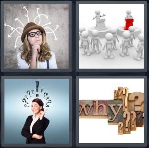 4 Pics 1 Word Answer 6 letters for woman thinking with many thoughts, cartoon of person lecturing or debating at podium, woman with idea, why carved out of wood