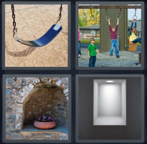 4 Pics 1 Word answers, 4 Pics 1 Word cheats, 4 Pics 1 Word 6 letters swing on playground, kids playing outside on jungle gym, alcove in bricks, light built into wall