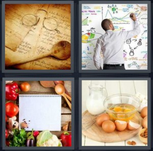 4 Pics 1 Word Answer 6 letters for instructions for doing something on scroll, man making formula on whiteboard, card for cooking, baking with eggs