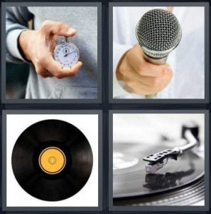 4 Pics 1 Word Answer 6 letters for man holding stopwatch to time something, microphone, vinyl album with yellow center, turntable player with needle