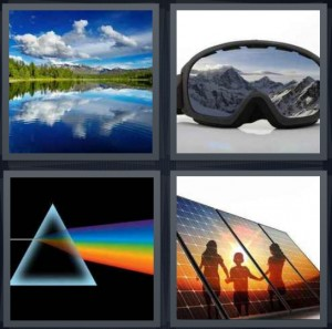 4 Pics 1 Word Answer 7 letters for lake view with mountains and pines, ski goggles with mountains and snow, triangle with rainbow dark side of moon, solar panels with kids playing