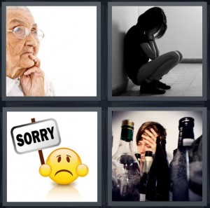 4 Pics 1 Word Answer 6 letters for old woman thinking about past, sad woman sitting in hallway, sorry face holding sign, man with headache and empty bottles of booze