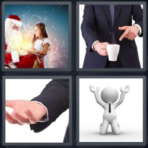 4 Pics 1 Word Answer 7 letters for girl sitting on Santas lap, man pointing at empty coffee cup, man with hand outstretched, cartoon of man begging