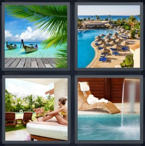 4 Pics 1 Word Answer 6 letters for boat on beach with green water and palms, lounge chairs along pool, woman in cabana on white cushion, fountain in pool with water running