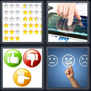 4 Pics 1 Word Answer 6 letters for gold stars on chart, person looking at sound waves on tablet, thumbs up green red buttons, smiley faces on blue background