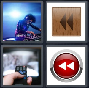 4 Pics 1 Word Answer 6 letters for DJ in sound booth at concert mixing, reverse backwards arrows on wood background, person using remote control, white backwards arrows on red button