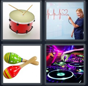 4 Pics 1 Word Answer 6 letters for drum with drumsticks, woman watching heartbeat, maracas green and red, DJ using turntable at concert or show