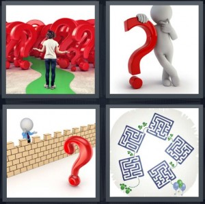 4 Pics 1 Word Answer 6 letters for woman standing with lots of question marks, curious cartoon thinking, question mark with cartoon wall, maze to solve