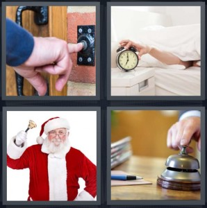 4 Pics 1 Word Answer 7 letters for man ringing doorbell, turning off alarm in bed, Santa Claus with bell, ringing bell at reception