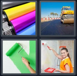 4 Pics 1 Word Answer 6 letters for ink for large printer paper, asphalt being laid on highway, green paint on wall, woman painting wall orange