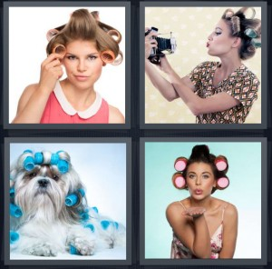 4 Pics 1 Word Answer 7 letters for woman in velcro curlers, antique woman taking photo of self, dog with blue curlers, woman blowing kiss