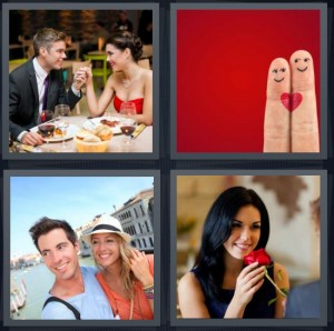 4 Pics 1 Word Answer 7 letters for couple on fancy dinner date, fingers in love with heart, couple on vacation, woman smelling red rose from man