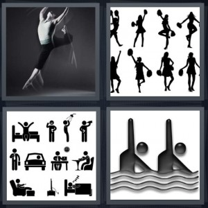 4 Pics 1 Word Answer 7 letters for dancer doing floor exercise, cheerleaders with pom poms, daily schedule for one man, swimmer icons in water