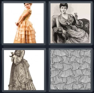4 Pics 1 Word Answer 7 letters for little girl in fancy dress, drawing of lady in Victorian time, woman with bustle on dress, layers of old dress