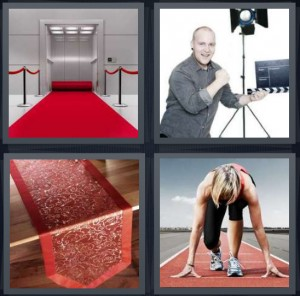 4 Pics 1 Word Answer 6 letters for red carpet for VIP celebrity, assistant on film shoot production, tablecloth for dining, woman on track about to start race