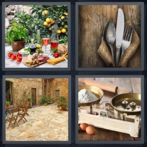 4 Pics 1 Word Answer 6 letters for fresh meal with fresh ingredients on table, place setting on wooden table and burlap napkin, outdoor dining table, antique scale weighing flour