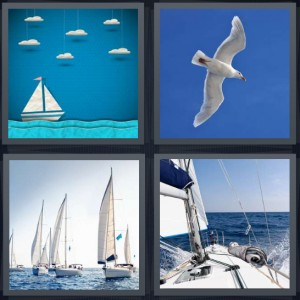 4 Pics 1 Word Answer 7 letters for paper boat cartoon, seagull flying in blue sky, port with several ships, yacht breaking waves on lake