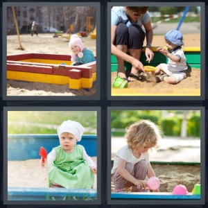 4 Pics 1 Word answers, 4 Pics 1 Word cheats, 4 Pics 1 Word 7 letters little girl playing in box, mother with baby at playground, baby with red shovel, girl digging in sand