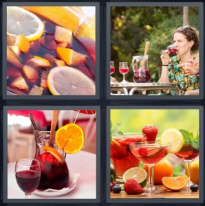 4 Pics 1 Word Answer 7 letters for fruit in wine, woman drinking wine outside, drink in pitcher red, cocktail with fruit in fancy glasses