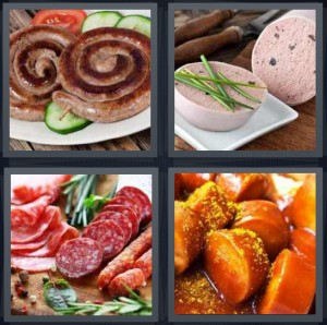 4 Pics 1 Word Answer 7 letters for coiled meat Polish, pate with rosemary, hard salami red and white, frankfurters in sauce