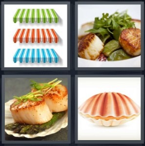 4 Pics 1 Word Answer 7 letters for awning for businesses, dish with herbs and peppers, seafood dish, shell opened up