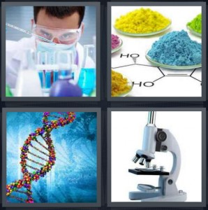4 Pics 1 Word Answer 7 letters for chemist with beakers, powder with chemist formulas, DNA double helix, microscope