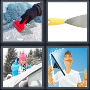 4 Pics 1 Word Answer 7 letters for ice scrape on windshield, putty knife, snow on car with woman, man washing windshield