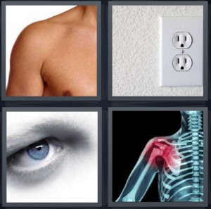 4 Pics 1 Word Answer 6 letters for armpit with naked male chest, electric outlet in wall, blue eyeball, skeleton with shoulder red