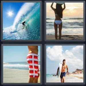 4 Pics 1 Word Answer 6 letters for person riding wave in ocean, woman standing in bikini on edge of water, man standing on beach, man in suit carrying board on beach