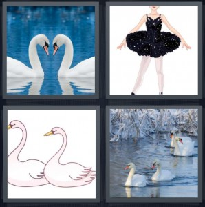4 Pics 1 Word Answer 5 letters for white ducks making heart with heads, ballerina in black tutu, drawing of birds with long necks, birds swimming on water