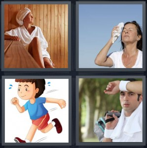 4 Pics 1 Word Answer 5 letters for woman in sauna with towel on head, woman wiping forehead in heat, cartoon boy running, man wiping brow after exercising