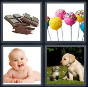4 Pics 1 Word Answer 5 letters for chocolate squares on white background, colorful cake lollipops, baby smiling with white background, puppy and kitten in field