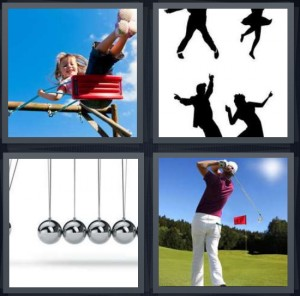 4 Pics 1 Word Answer 5 letters for girl on ride plastic red seat, silhouettes of people dancing to big band music, silver balls swinging as weights, man playing golf
