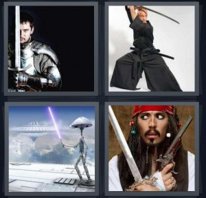 4 Pics 1 Word Answer 5 letters for knight in shining armor, black ninja fencing, light saber in Star Wars space world, Jack Sparrow from Pirates of the Caribbean