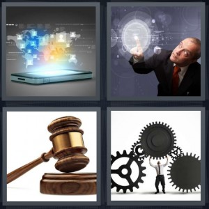 4 Pics 1 Word answers, 4 Pics 1 Word cheats, 4 Pics 1 Word 6 letters laptop computer with pastel world, man selecting bubble of light on wall, judge gavel, man holding steel gears