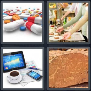4 Pics 1 Word Answer 6 letters for medicine capsules pills, women choosing food at buffet, laptop cell phone electronic devices, pictographs on red sandstone