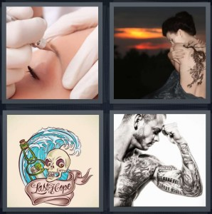 4 Pics 1 Word Answer 6 letters for woman having eyebrows drawn on permanently, woman with dragon on back, Sailor Jerry ink, man with ink sleeve
