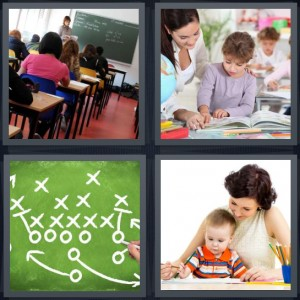 4 Pics 1 Word Answer 5 letters for school classroom learning, student learning from book, playbook on chalkboard for football, mother with baby