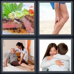4 Pics 1 Word Answer 6 letters for medium cooked steak with pink, person rubbing sore calf leg, nurse taking care of injured old man, couple hugging smiling