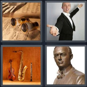 4 Pics 1 Word Answer 5 letters for sheet music with opera binoculars, man opera singer with tux, instruments leaning against brick wall, bust statue of singer