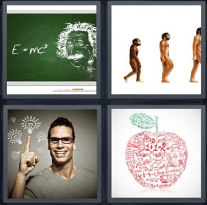 4 Pics 1 Word Answer 6 letters for Einstein idea of relativity e=mc2, man evolving from chimp, man with idea lightbulb, math problems in red apple with green leaf